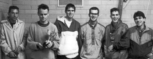St Kevin's 1994From left - Cam Hayes, Rob Fregon, Simon Lewin, Justin Rinaldi, Julian Dwyer, Nick Fragomeni